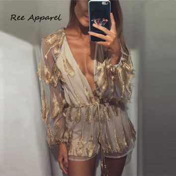 2016 Deep v neck sexy Gold sequin sexy jumpsuit women Transparent party playsuit Summer club elegant jumpsuit romper overalls