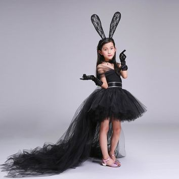 Dress+Headband+Necklace Black Handmade Girl Party Dress with Train Tulle Chiffon Baby Girl Tutu Dress Casual Baby Girl Clothes