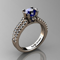Classic 14K Rose Gold 1.0 Ct Blue Sapphire Diamond Solitaire Engagement Ring R1027-14KRGDBS