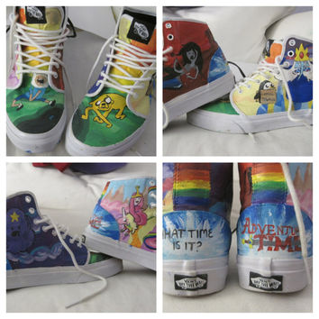 Adventure Time Shoes by handpaintedfeet on Etsy