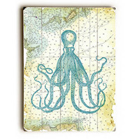 Octopus Natuical Map by Lotus Leaf Collection Wood Sign