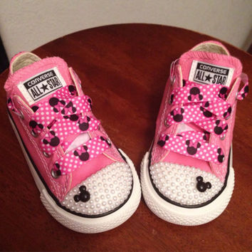 Pink Minnie Mouse Pearl Converse from Munchkenzz on Etsy  e3820a05b7
