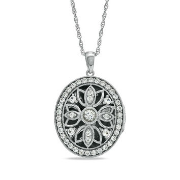 Lab-Created White Sapphire Oval Locket Pendant in Sterling Silver