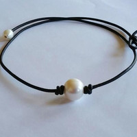 Pearl and Genuine Leather Necklace Black Choker +Gift Box