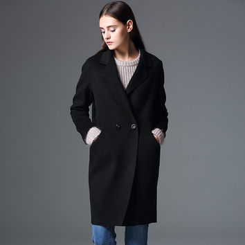 Women's Black  Wool Coat -  woman coat- tailored coat-cashmere coat- winter coat-Wool jacket-minimalist coat -womens winter coat