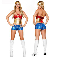 Gold Metallic PVC Supergirl Fancy Dress Outfit Adult Burlesque Style Red Sequined Superwomen Cosplay Uniforms Plus Size Costumes Alternative Measures - Brides & Bridesmaids - Wedding, Bridal, Prom, Formal Gown