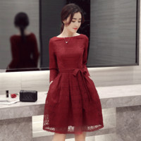 Lace Long Sleeve Korean Slim Plus Size One Piece Dress [9374890698]