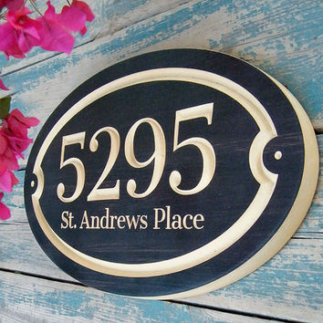 Oval House Number Engraved Plaque (number and street name)