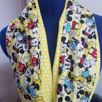 Mickey - mouse  - minnie - mouse - disney -vintage - retro - polka - dot - print - reversible -  loop  - scarf
