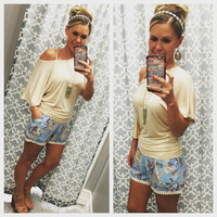 Floral Pocket Shorts: Blue