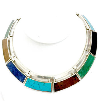 Modernist Taxco Silver & Semi-Precious Stone Choker Necklace, Graduated Panels of Inlayed Stones, Vintage 950 Sterling Silver, Hallmarked