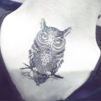 1pcs Owl tattoo - InknArt Temporary Tattoo - wrist quote tattoo body sticker fake tattoo wedding tattoo small tattoo