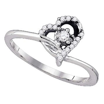 10k White Gold Round Diamond Women's Heart Dainty Promise Bridal Ring - FREE Shipping (US/CA)