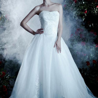 2016 A-Line Strapless Beading Appliques Dress To Wear To A Wedding [WD-314] - AUD $414.37 :