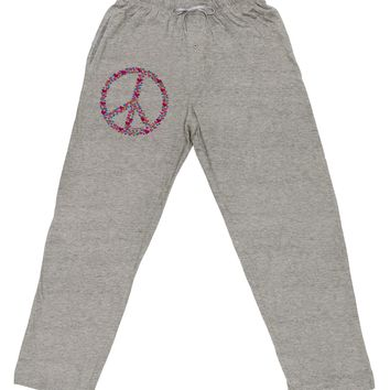 Peace Sign Hearts Adult Loose Fit Lounge Pants