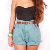Ralph Lauren light teal high waist shorts