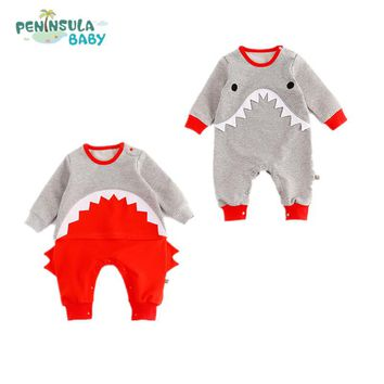Baby Girl Clothes Kids One Pieces Jumpsuits Pajamas 0-24M Infant Boys Clothes Cute Cartoon Shark Romper Baby Costumes