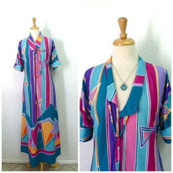 1970s Rainbow Long Tunic Robe Gown Vanity Fair by Grenada dress M/L