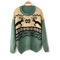 Cute Deer Diamond Pattern Sweater