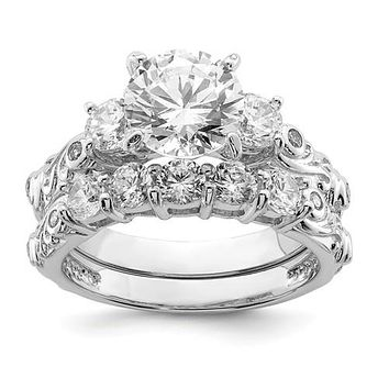Sterling Silver 2-Piece CZ Decorative Side Promise Wedding Ring Set