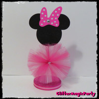 1 Minnie Mouse - Hot Pink with Fuchsia Polka White Dots Centerpiece / Minnie Mouse Inspired / Minnie Mouse Decoration / Minnie Mouse Party