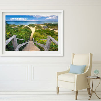 Large Framed Wall Art, Beach Photograph, Nantucket Photo, Steps Beach Path, Dunes Grass, Cape Cod Picture, Coastal Artwork, Lime Green Blue