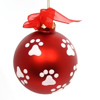 Holiday Ornaments PAW PRINT BALL ORNAMENT Dogs Lover Best Friend W7775 Red