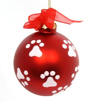 Holiday Ornaments Paw Print Ball Ornament Glass Ornament