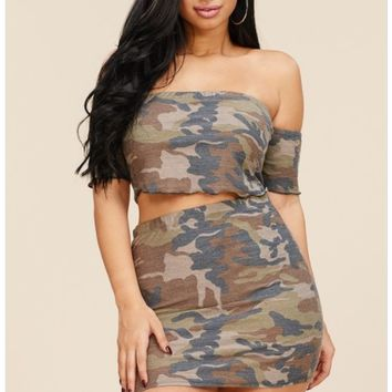 Camouflage Print French Terry Crop Top with Matching Skirt