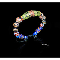Borneo Glass Bead Bracelet, Multi-Colored Bead Bangle-Mixed Tubular/Long Oval/Round/Button Beads Boho Bohemian Glass Beaded Bangle Jewelry#2