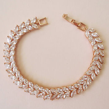 Rose Gold Bridal Bracelet Crystal Wedding Bracelet Art Deco Bridal Jewelry AAA grade Cubic Zirconia Marquise Bracelet Leaf Leaves KARENA