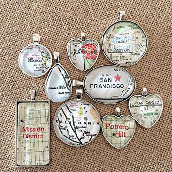 Vintage Map Charms - You Choose The Location