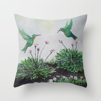 Hummingbirds and Hostas Throw Pillow by Rokin Art by RokinRonda