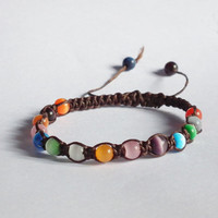 Cats Eye in Wax Thread Square Knot Bracelet - Rainbow Inspired - Gift under 15 - Adjustable Closer
