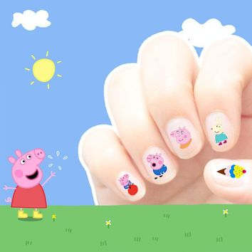 Cartoon Waterproof 3D Nails Sticker Cute Peppa Pig Sticker Design Nails Foil Peppa Pig Sticker Decor Decals for Children