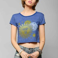 Truly Madly Deeply '90s Moon Cropped Tee- Blue S