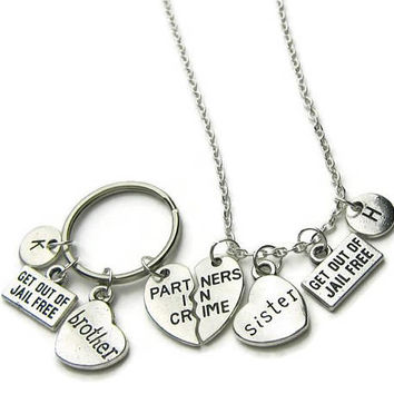 Partners In Crime Brother Sister Gift, Partners In Crime Brother Keychain, Partners In Crime Sisters Necklace, Brother Sister Personalized