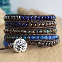 Blue and hematite five wrap bracelet. Dark bohemian chic bracelet.