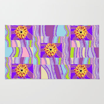 Psychedelic Flowers #1 Area & Throw Rug by Jenartanddesign | Society6
