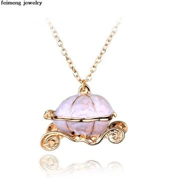 New Sweet Pumpkin Carriage Necklace Cinderella Fairy Tale God-Mother Magic Alloy Chains Exquisite Pendants Necklace