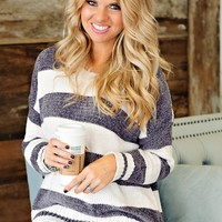 * Soft as a Cloud Striped Chenille Sweater - Grey & Ivory