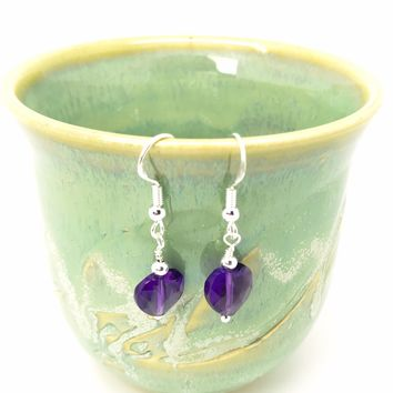 Amethyst Purple February Gemstone Handmade Earrings