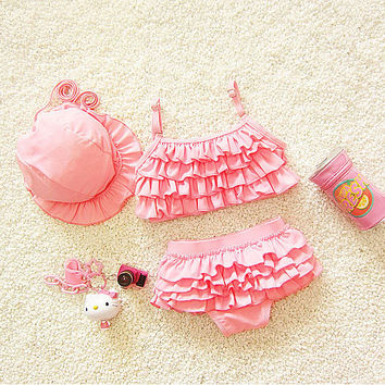 Kids Swimwear girls two pieces child swimsuit with ruffle mermai d01655fa0913