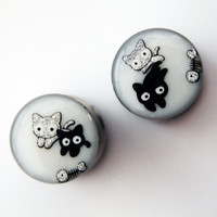 "Glamsquared — Cat-astrophe Reversible 16mm 5/8"" Steel Tunnels"