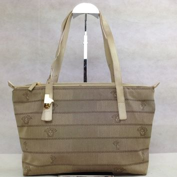 Authentic GIANNI VERSACE Tote shoulder bag Cream Colored Canvas 5D135170#
