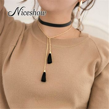 Gothic Style Black Pu Leather Long Chain Tassel Charm Necklace Grunge Style Statement Necklace