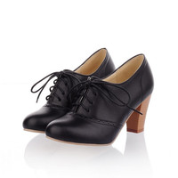Lace Up Thick Heel Pumps