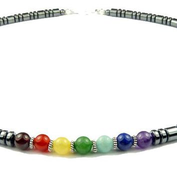 Men's Grey Hematite 7 Stone Crystal Healing Chakra Beaded Necklace  MN32