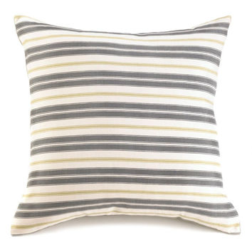 "Accent Cushion Pillow-Chartreuse Stripe   18"" Square"