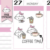 PIXIE - coffee stickers but first coffee planner stickers coffee reminder drink stickers starbucks cute stickers kawaii stickers | A142